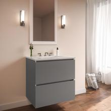 """View Product - Curated Cartesian 24"""" X 15"""" X 21"""" Two Drawer Vanity In Matte Gray Glass With Slow-close Plumbing Drawer, Full Drawer and Engineered Stone 25"""" Vanity Top In Quartz White (silestone White Storm)"""