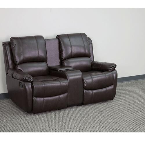 2-Seat Reclining Pillow Back Brown Leather Theater Seating Unit with Cup Holders