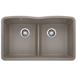 Diamond Equal Double Bowl With Low Divide - Truffle
