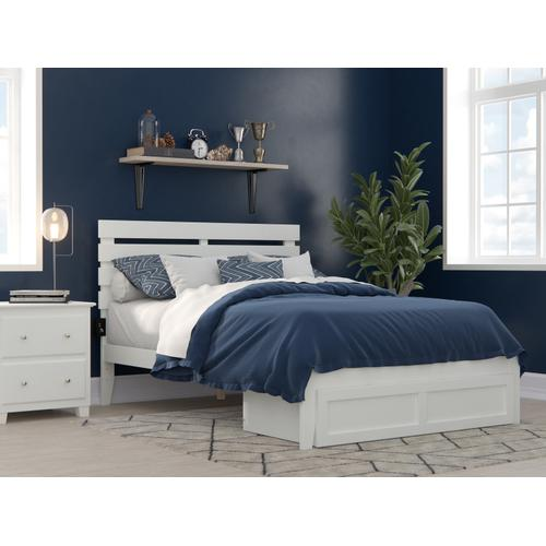Atlantic Furniture - Oxford Full Bed with Foot Drawer and USB Turbo Charger in White