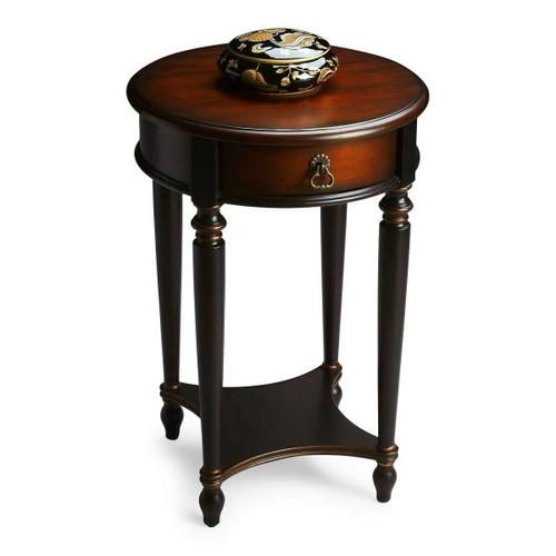 Butler Specialty Company - Elegance and versatility make this table a great addition to virtually any space. Hand painted in black and crafted from poplar hardwood solids and wood products, it features a rich, contrasting, hand rubbed cherry veneer top and drawer front with a lightly distressed finish. Includes one drawer with aged brass hardware and a lower display shelf.