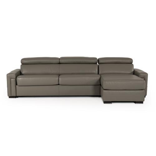 Gallery - Estro Salotti Sacha - Modern Dark Grey Leather Reversible Sectional Sofa Bed with Storage