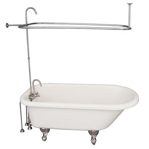 """Anthea 60"""" Acrylic Roll Top Tub Kit in Bisque - Brushed Nickel Accessories"""