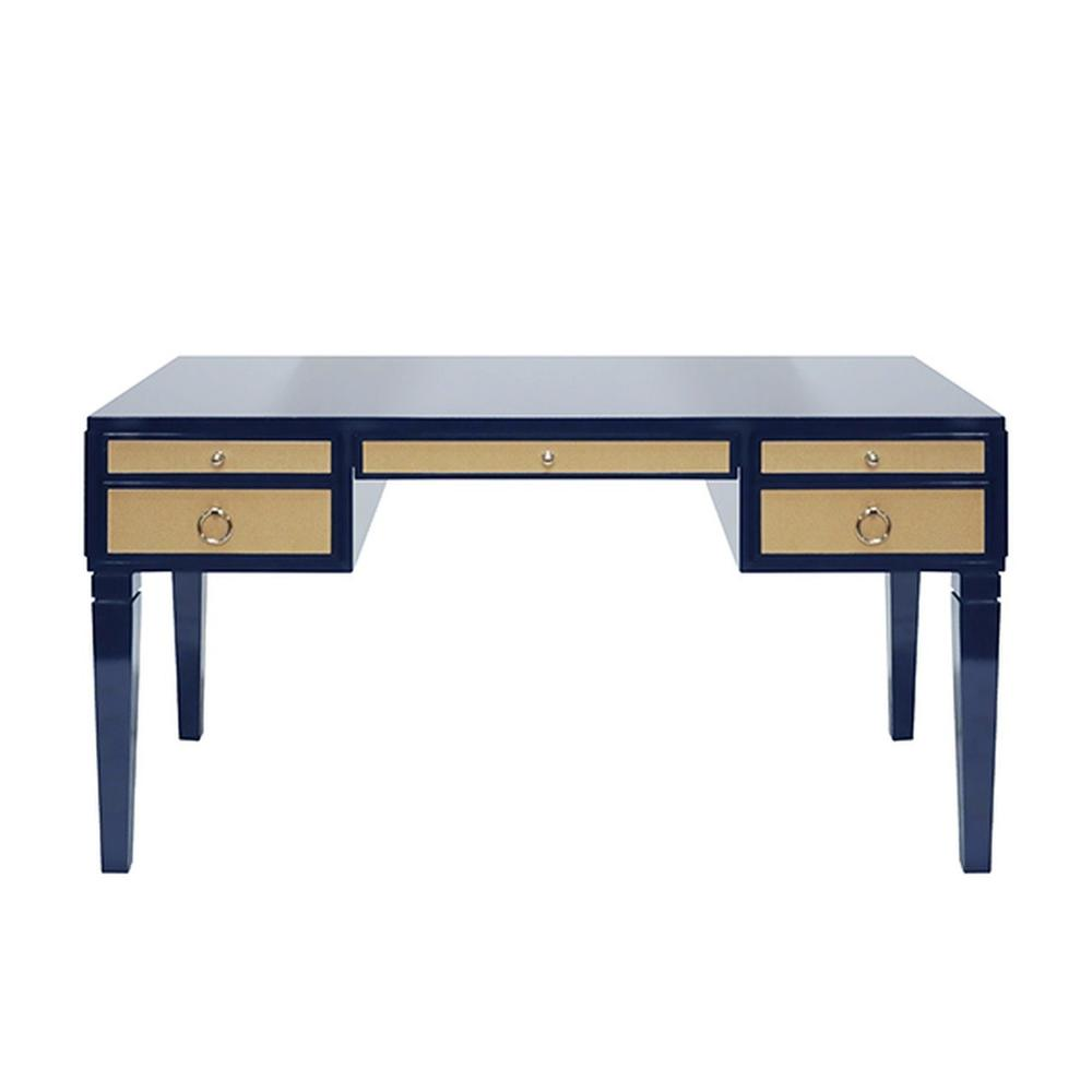 Some May Say the Heidi Desk Was Designed Solely To Revive the Lost Art of Penmanship - But Whether You Use It for Writing Letters or Emailing Them, You'll Love the Exquisite Luxe Tailoring In Any Contemporary Home Office. Contrasting Natural Grasscloth Drawers Add an Organic Feel To This Timeless, High Gloss Navy Lacquer Frame. Polished Nickel Hardware Completes the Look.