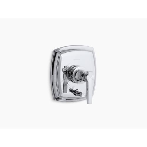 Kohler - Vibrant Polished Nickel Rite-temp Pressure-balancing Valve Trim With Push-button Diverter and Lever Handles, Valve Not Included