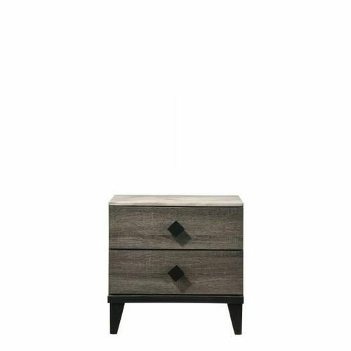 ACME Avantika Nightstand - 27673 - Transitional - Veneer (Foil), MDF, PB - Faux Marble and Rustic Gray Oak