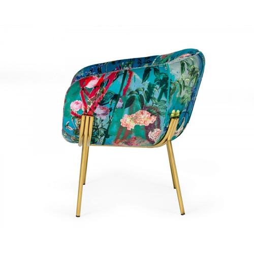 VIG Furniture - Modrest Falco - Contemporary Floral Velvet and Gold Accent Chair