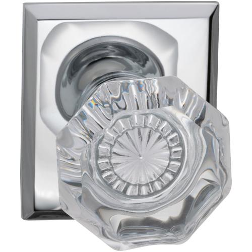 Interior Traditional Knob Latchset with Rectangular Rose in (US26 Polished Chrome Plated)