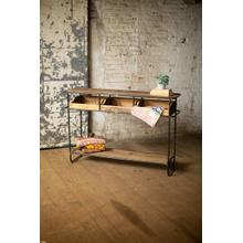 See Details - recycled wood & metal display console with drawers