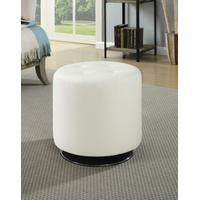 Contemporary White Round Ottoman Product Image