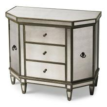 This mirrored console chest is an elegant addition to any foyer, hallway or boudoir. Featuring antique mirror panel inlays and a pewter finish, it is crafted from poplar hardwood solids and wood products. It offers ample storage with three drawers and side storage compartments behind each door, all with antique brass finished hardware.