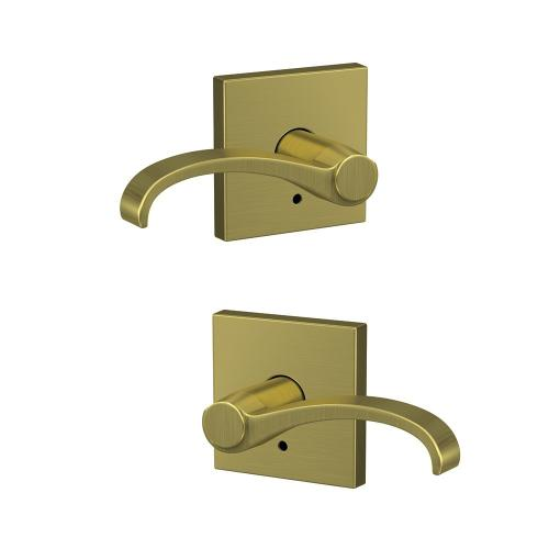 Custom Whitney Non-Turning Lever with Collins Trim - Satin Brass