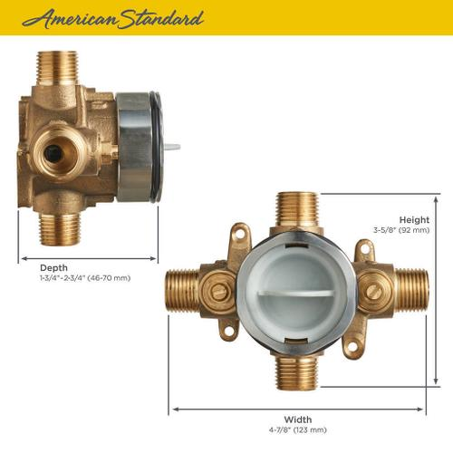 American Standard - Flash Shower Rough-in Valve With Universal Connections and Screwdriver Stops  American Standard -
