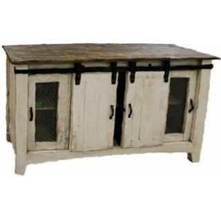 "See Details - 60"" White Wash/coffee Barn Door TV"