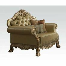 ACME Dresden Chair w/2 Pillows - 53162 - Bone PU & Gold Patina