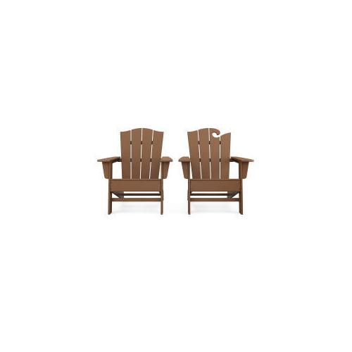 Polywood Furnishings - Wave 2-Piece Adirondack Chair Set with The Crest Chair in Teak