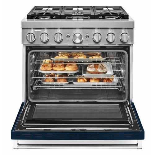 KitchenAid Canada - KitchenAid® 36'' Smart Commercial-Style Dual Fuel Range with 6 Burners - Ink Blue