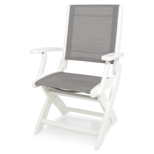 White & Metallic Coastal Folding Chair