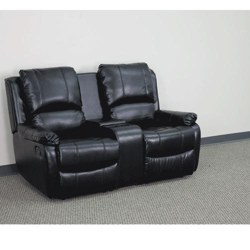 Alamont Furniture - 2-Seat Reclining Pillow Back Black Leather Theater Seating Unit with Cup Holders