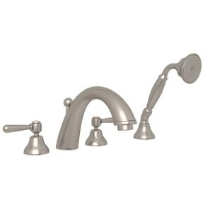 Verona 4-Hole Deck Mount C-Spout Tub Filler with Handshower - Satin Nickel with Metal Lever Handle