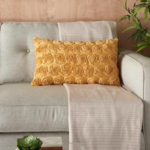 "Life Styles L0163 Mustard 14"" X 24"" Throw Pillow"