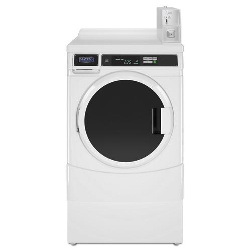 "27"" Commercial Gas Front-Load Dryer Featuring Factory-Installed Coin Drop with Coin Box White"