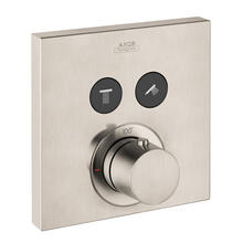 Brushed Nickel Thermostat for concealed installation square for 2 functions