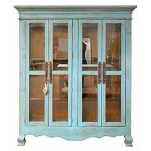 See Details - Antique Blue Glass Doors Armoire