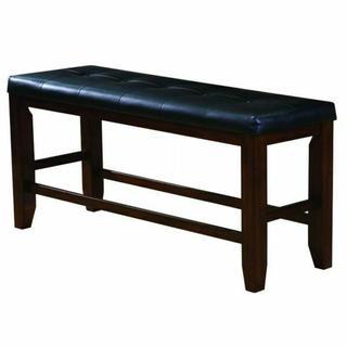 ACME Urbana Counter Height Bench - 00679 - Black PU & Cherry