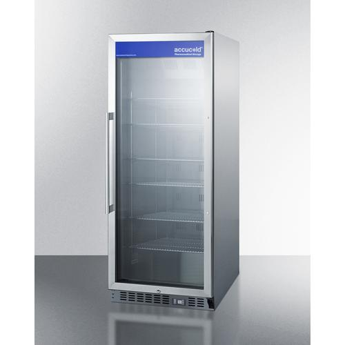 Summit - Mid-sized Pharmaceutical All-refrigerator With Stainless Steel Construction Inside and Out, Digital Controls, and Self-closing Glass Door