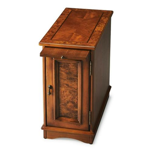 Butler Specialty Company - Selected solid woods with choice cherry veneers. Four-way book matched cherry veneer top with inlayed walnut frame. Cherry veneer sides, back panel, and pullout tray.