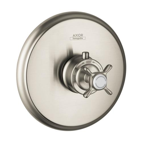 Brushed Nickel Thermostat for concealed installation with cross handle and shut-off valve