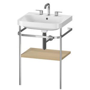 Furniture Washbasin C-shaped With Metal Console Floorstanding, Mediterranean Oak (real Wood Veneer)