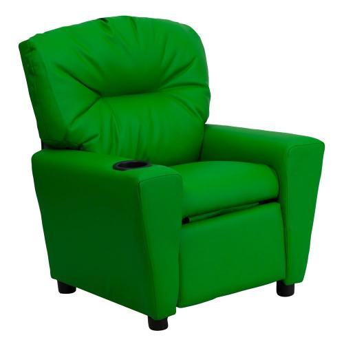 Contemporary Green Vinyl Kids Recliner with Cup Holder