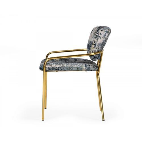 VIG Furniture - Modrest Farnon - Modern Patterned Velvet and Gold Dining Chair
