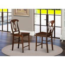 Kenley Counter Height Stools With Wood Seat In Mahogany Finish