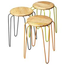 See Details - This set of stackable iron stools is both stylish and highly functional. Each stool has a solid mango wood seat with forged iron legs, and features complementary powder-coated color finishes of orange, grey and lime green. Best of all, the stools conveniently stack to minimize space.