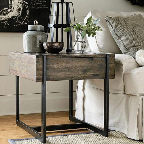 Modern Timber Rectangular Drawer End Table