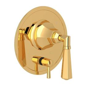 Palladian Pressure Balance Trim with Diverter - Italian Brass with Metal Lever Handle