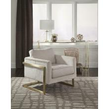 Modern Ivory and Brushed Brass Accent Chair