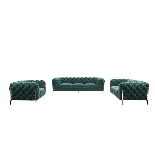 VIG Furniture - Divani Casa Quincey - Transitional Emerald Green Velvet Sofa Set