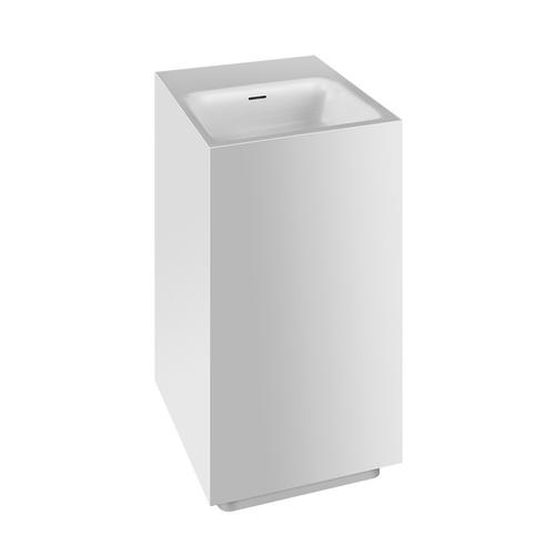 """Freestanding washbasin in Cristalplant® with overflow waste Matte white L 16-9/16"""" x W 16-9/16"""" x H 35-7/16"""" May be drilled o n-site to fit single or 3 hole faucet Wall drainage Grille-plug and syphon included CSA certifiedPlease contact Gessi North A merica for freight terms"""