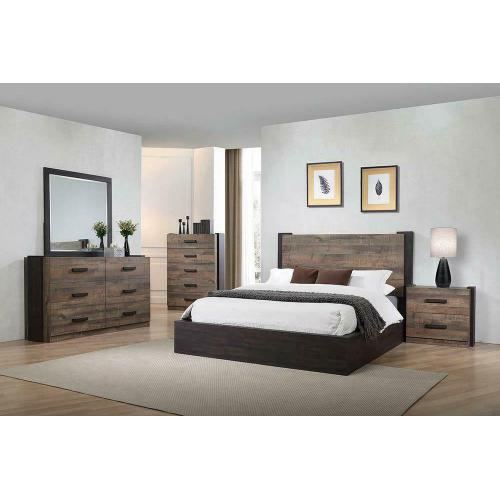 Weathered Oak and Rustic Coffee California King Bed
