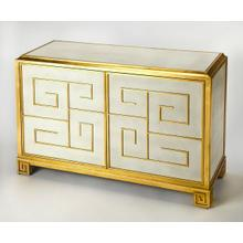 See Details - This preppy cabinet is characterized by its gold, Greek key design that adds to the glam fashion and its white leather upholstered frame creates a soft appeal making this piece the perfect addition to any room in your home. Solid Gemelina wood construction with gold painted Maple veneers.