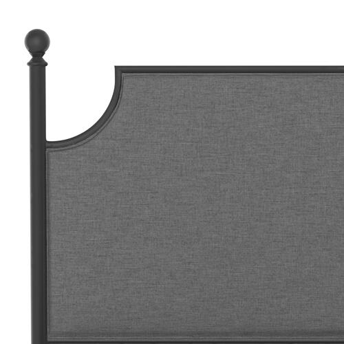 Mcarthur King Metal and Upholstered Bed, Matte Black With Gray Fabric