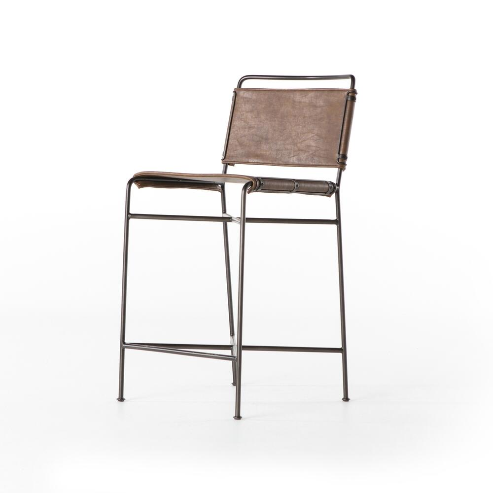 See Details - Counter Stool Size Distressed Brown Cover Wharton Bar + Counter Stool