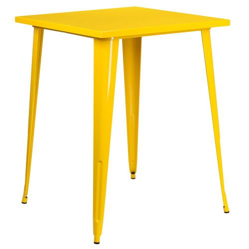 31.5'' Square Bar Height Yellow Metal Indoor-Outdoor Table