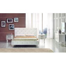 See Details - Modrest Monte Carlo - White Leatherette Modern Twin Bed with Crystals