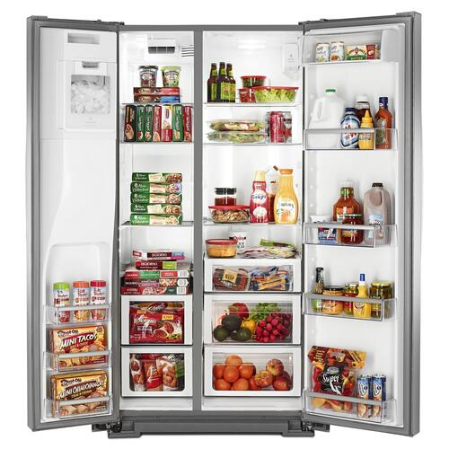 Whirlpool - 36-inch Wide Side-by-Side Counter Depth Refrigerator with StoreRight Dual Cooling System - 20 cu. ft. Monochromatic Stainless Steel