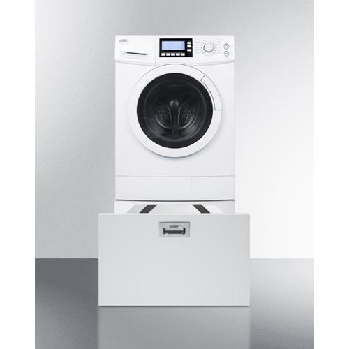 Pedestal With Storage Drawer To Raise Height of Select Washer/dryers for Easier Accessibility
